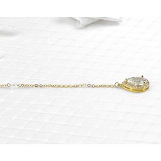 Boucles d'oreilles sur clous en plaqué argent composées de cabochons ronds en cristal Swarovski de couleur crystal .