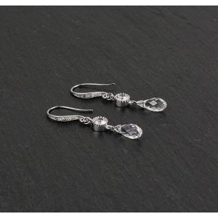 Parure 4 pièces (collier, bijou de dos et bracelet sur plaqué argent et fil câblé argenté et boucles d'oreilles sur clou