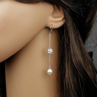 Parure 4 pièces (collier, bijou de dos et bracelet sur fil nylon transparent et boucles d'oreilles sur clous) composée d