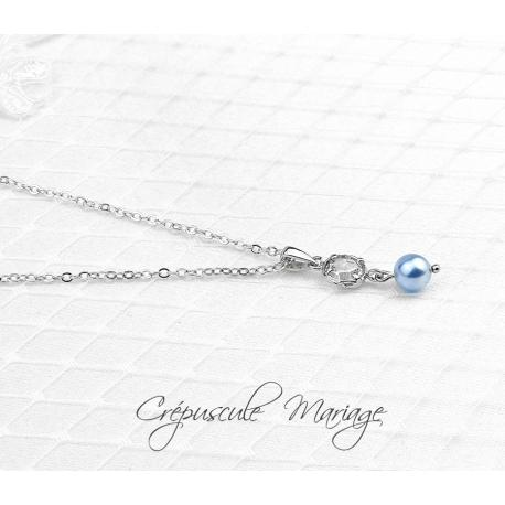 Collier mariage SOMETHING BLUE argenté, cubic zirconia, oxydes de zirconium