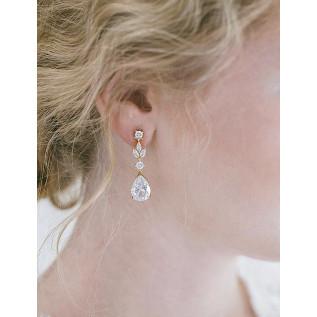 Parure 2 pièces (collier sur fil câblé et plaqué argent et boucles d'oreilles sur dormeuses en argent 925) composée de p