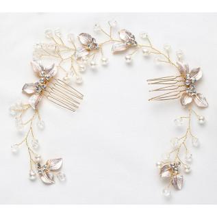 Boucles d'oreilles vintage de style victorien sur dormeuses en argent 925 composées de perles nacrées blanches, de perle